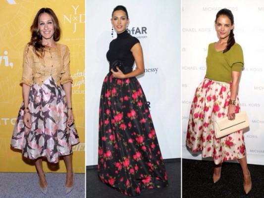 Шифоновая юбка с цветочками с чем носить