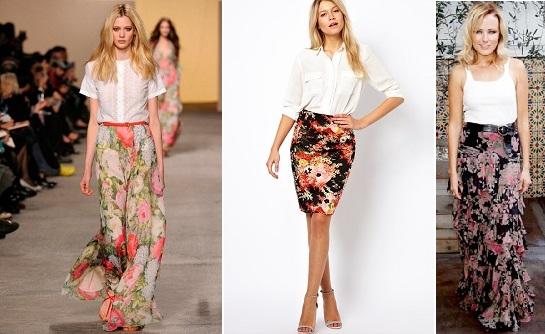 Длинная юбка в цветок с чем носить