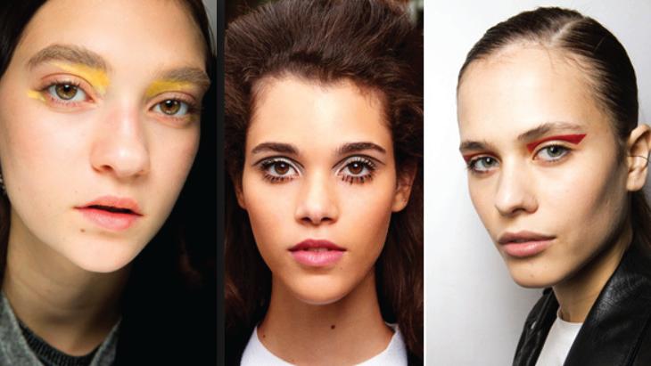 Модные тени в макияже 2018: желтый, вишневый, матовый серый.