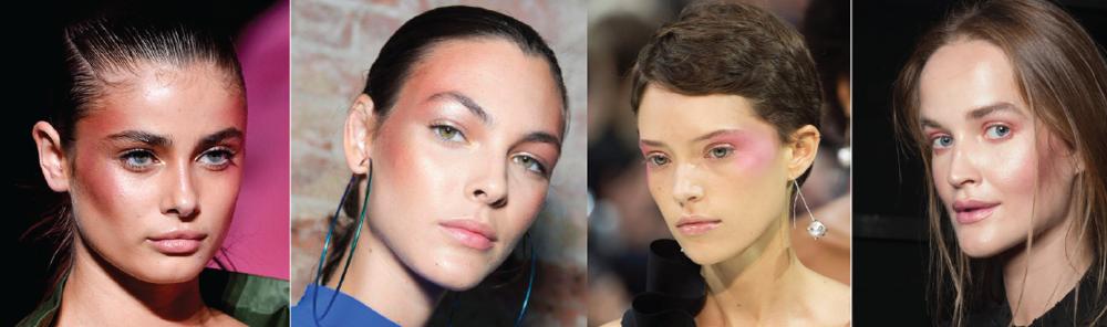 Тренды макияжа 2018: дрейпинг или выделение контуров лица румянами и хайлайтером.