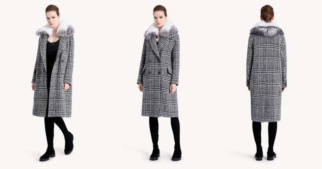 Женское двубортное пальто в клетку Ermanno Scervino 2018