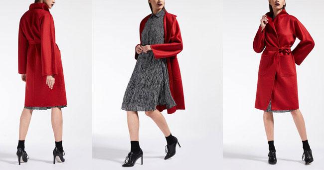 Кашемировое пальто красного цвета 2018