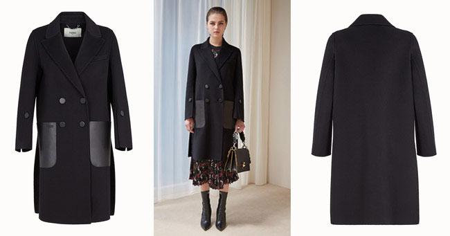 Модное черное пальто Fendi осень-зима 2018-2019