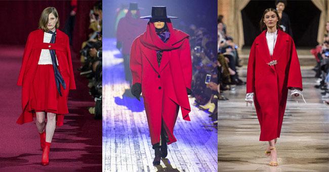 Модные пальто 2018 цвет красный