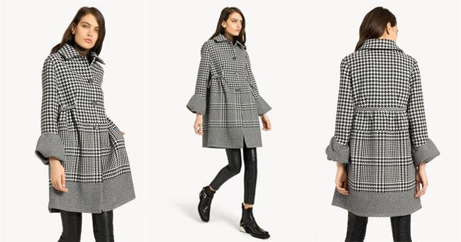 Пальто в гусиную лапку и клетку Ermanno Scervino 2018