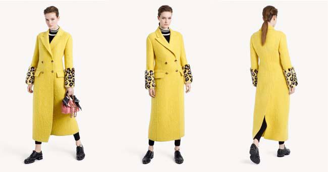Пальто желтого цвета Ermanno Scervino коллекция осень-зима 2018