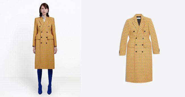 Пальто желтое в клетку balenciaga 2018